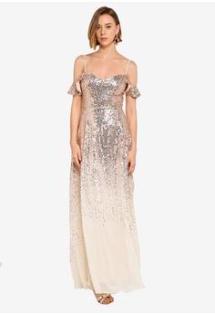 e9757a8d1a0e Goddiva gold Flutter Sleeve Sequin And Chiffon Maxi Dress 5B238AA3C2BFB0GS_1