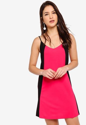 ZALORA pink and multi Strappy Colourblock Dress 3EB5CAA80E655BGS_1