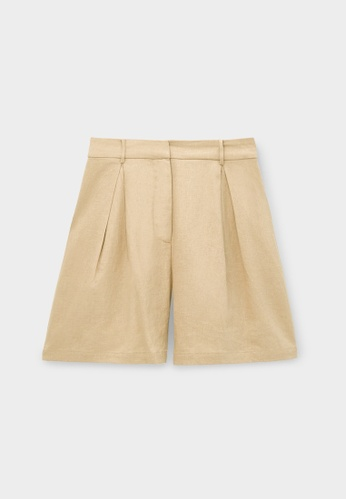 Pomelo beige Purpose Pleated Shorts - Beige 9AB90AA967BD8AGS_1