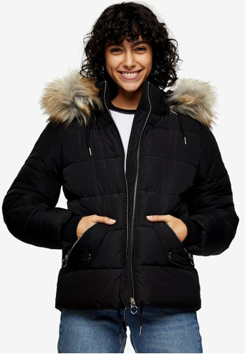 TOPSHOP black Black Padded Puffer Jacket With Faux Fur A8045AA426BEBEGS_1
