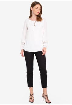 f0b3d3fb154eb 60% OFF Wallis Ivory Lace Trim Top RM 216.05 NOW RM 86.90 Sizes 8