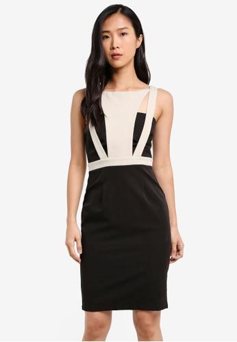 KLEEaisons black Colourblock Cut-Off Fitted Dress KL492AA0RVP8MY_1