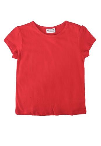 LC Waikiki red Girl's Cotton Basic T-Shirt 48C5FKAF3EFB51GS_1