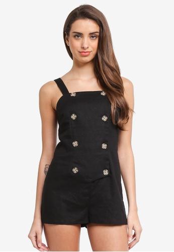 Miss Selfridge black Petite Button Playsuit 62890AAE1D2C6BGS_1