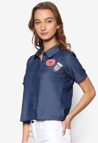 拼圖丹寧短袖襯衫, 服飾,esprit outlet hong kong 上衣