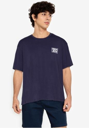 ZALORA BASICS navy Error 404 T-Shirt 48A47AADDE23B7GS_1