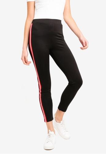 ZALORA BASICS black Basic Jersey Leggings With Side Stripes E5032AA74AD3D9GS_1