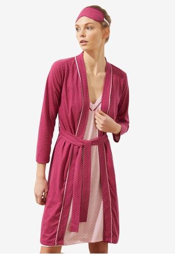 Trendyol 粉紅色 Polka Dots 罩袍 with Night 洋裝 Set 1FAE4AAFA66B93GS_1