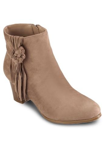 扭結流蘇帶粗跟短靴,zalora 手錶 女鞋, 靴子