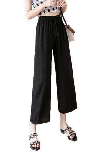 Halo black Wide Leg Cropped Pleated Pants E3D3EAA1DBB5D0GS_1