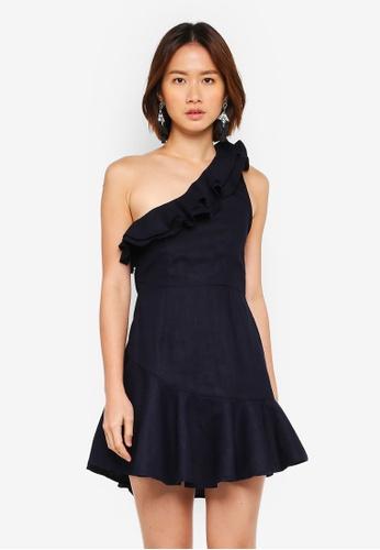 INDIKAH navy Asymmetrical Hem Ruffle Dress 19D0EAA9B3F983GS_1