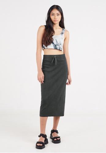 Gen Woo black Washed Rib Midi Skirt by Gen Woo 5B8BFAAF712FD2GS_1