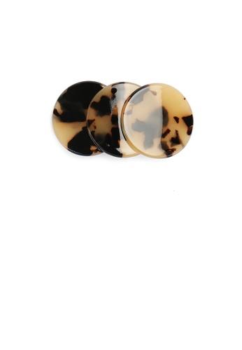 Glamorousky silver Simple and Fashion Beige Tortoiseshell Geometric Round Hair Slide A55AFAC467BC4DGS_1