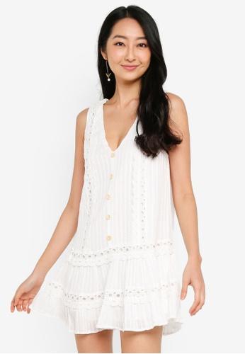 INDIKAH 白色 鈕釦 前無袖 洋裝 DE6B6AA17465F6GS_1