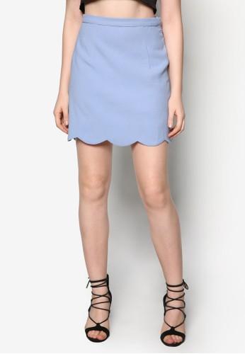 扇貝下擺短裙, zalora 衣服尺寸服飾, 服飾