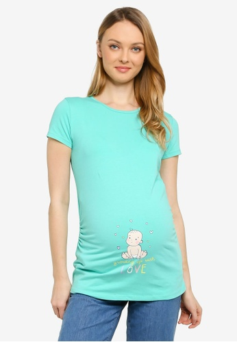LC Waikiki green Witty Cotton Maternity T-shirt 6EF6DAA16D3AE0GS_1