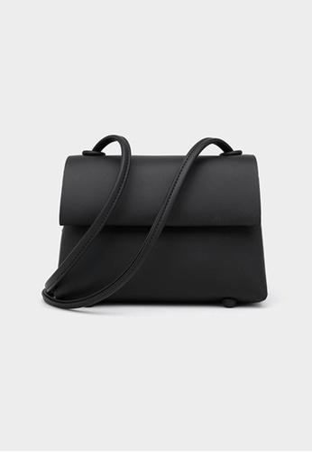 Lara black Women's Minimalist Plain PU Leather Magnetic Buckle Flap Cross-body Bag - Black 512DBAC428DD0DGS_1