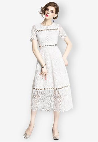Sunnydaysweety white Lace One Piece Dress 537B3AAF3C0B71GS_1