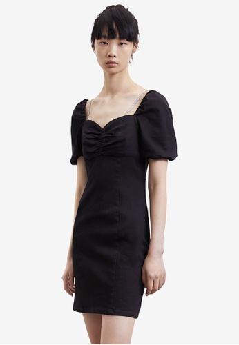 Urban Revivo black Ruched Dress 107D9AAF7986B8GS_1