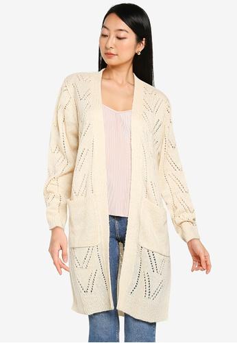 JACQUELINE DE YONG beige Daisy Long Sleeve Structure Cardigan 6D7CCAA4D3043DGS_1