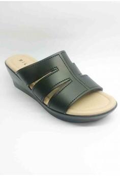 Ave Casual Black Slip-on Semi-Wedge Sandal