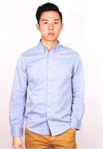 Moley blue Classic Plain Shirt w Crafted Wood Button MO329AA96ITZSG_1