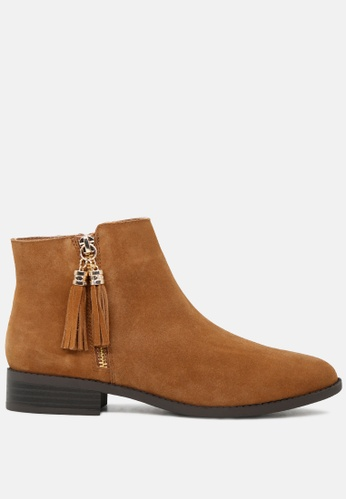 Rag & CO. 褐色 流苏拉链脚踝低跟靴 RCSH1783 E632FSHB695ECFGS_1