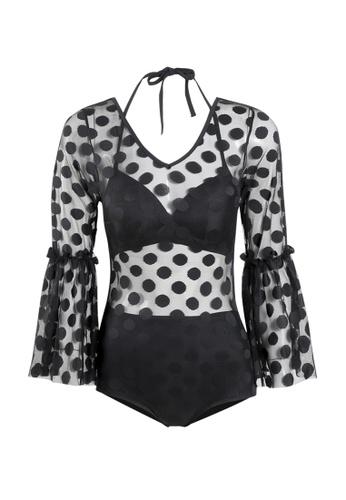 Its Me black Sexy Gauze Polka Dot One-Piece Bikini Swimsuit 3B7A6US27E5768GS_1