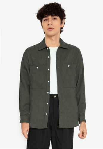 ZALORA BASICS green Two Pocket Over Shirt 370DBAA703B6A0GS_1