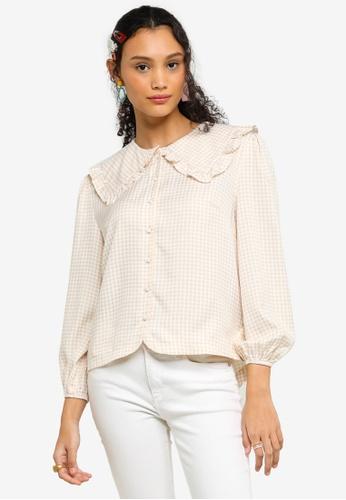 Lubna brown Ruffle Collar Checkered Blouse 17093AA1BB04FAGS_1