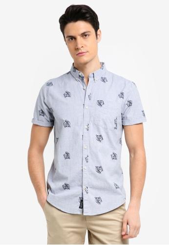 Hollister 灰色 Short Sleeve Printed Shirt 009C8AA797F32FGS_1