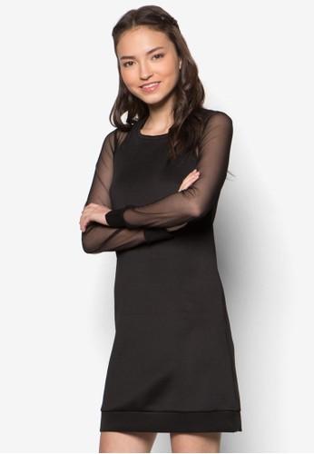 薄紗esprit outlet 桃園拼袖連身裙, 服飾, 洋裝