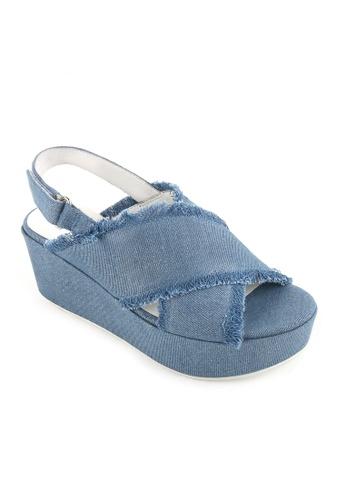 Joy & Peace blue Cross Strap Sandals JO458SH68YHFHK_1