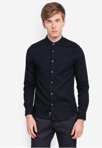 Electro Denim Lab black Dobby Mandarin Collar Shirt EL966AA0SPC2MY_1