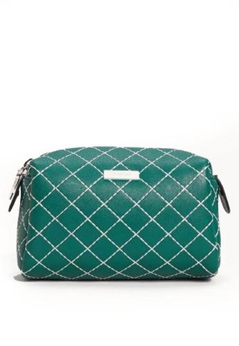 Mango green Contrast Seam Cosmetic Bag 976B0ACA6CE214GS_1
