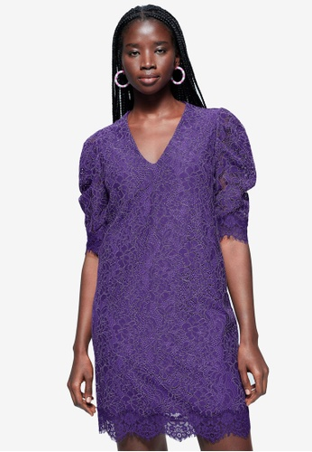 Violeta by MANGO purple Plus Size Puffed Sleeves Guipure Dress 941F2AA9AE4812GS_1