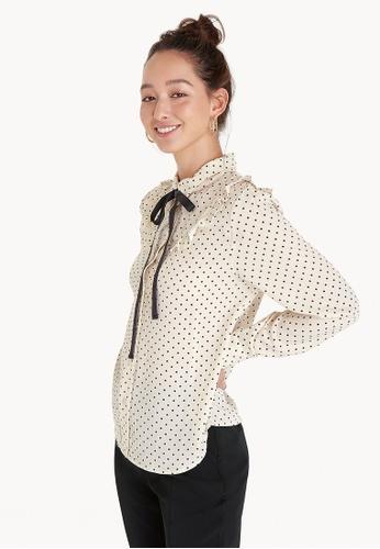 Pomelo white Polka Dot Tie Neck Shirt - White 32070AA1F1B2C0GS_1