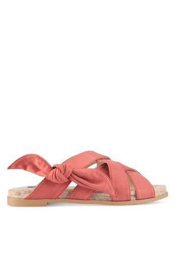 ZALORA 粉紅色 交叉繫帶結飾涼鞋 16DAESH6462F8CGS_1