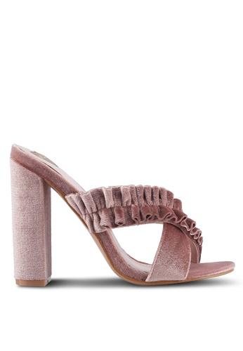 Velvet pink Soft Cross Ruffles Heels B8558SHB3E18C7GS_1