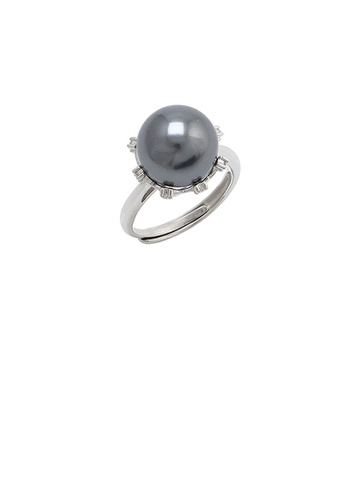 Glamorousky black 925 Sterling Silver Fashion Simple Geometric Black Freshwater Pearl Adjustable Ring with Cubic Zirconia 386D5ACCA0305CGS_1