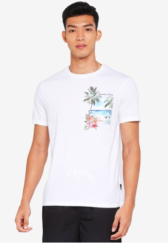 Burton Menswear London 白色 印花口袋T恤 2E014AA73EA194GS_1