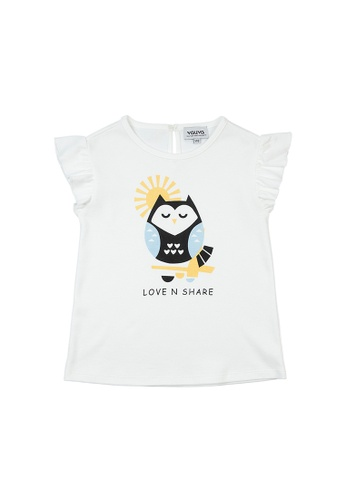 Vauva white Vauva Girls Owl Frilling Sleeves Top - White FB198KA384AFECGS_1