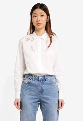 WAREHOUSE white Cutwork Embroidered Shirt B597EAA3550392GS_1