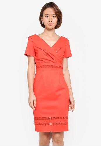 Paper Dolls orange Mock Wrap Front Lace Insert Dress 6BBF7AA26083C4GS_1