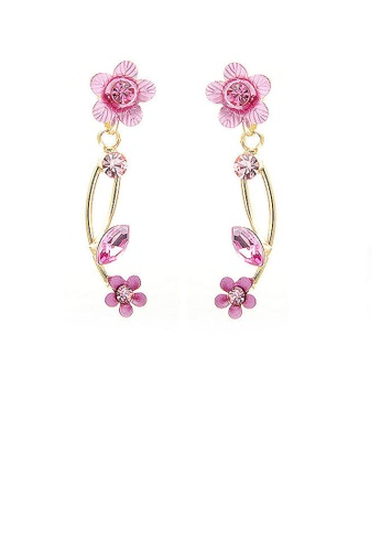 Glamorousky pink Pink Flower Shape Golden Earrings with Pink Austrian Element Crystals D663BAC7C599A0GS_1