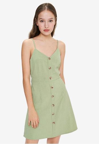 URBAN REVIVO green Button Down A-Line Dress FF6A6AAB68CC75GS_1