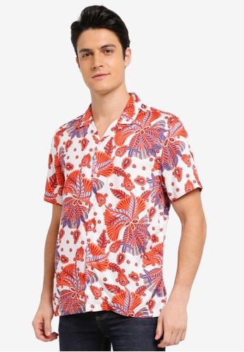 Topman white White And Red Print Short Sleeve Shirt 0698CAA1D6E69CGS_1