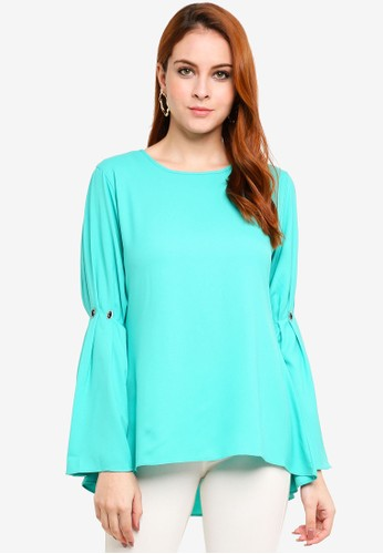 Aqeela Muslimah Wear green Embellished Pleated Sleeve Top 0C020AA70D57A9GS_1