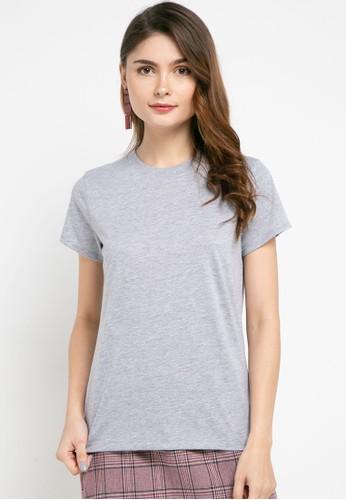 Tolliver grey Round Neck Basic Short Sleeve Tee B9EF1AA0D97CBEGS_1