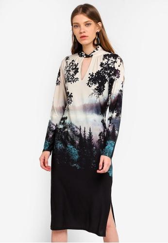 15124de265f90 Buy Wallis Black Printed Jersey Shift Dress | ZALORA HK